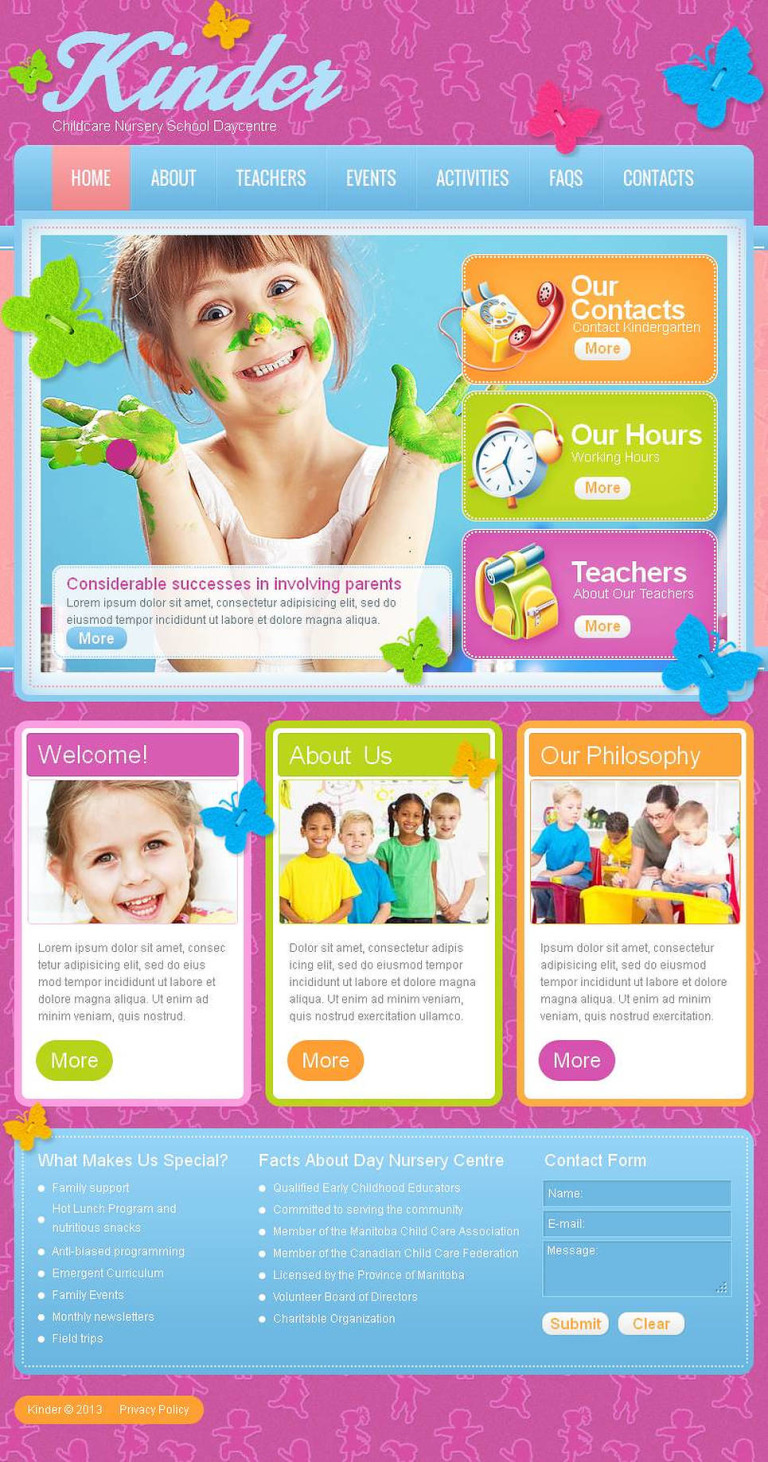 Kids Center Facebook HTML CMS Template New Screenshots BIG