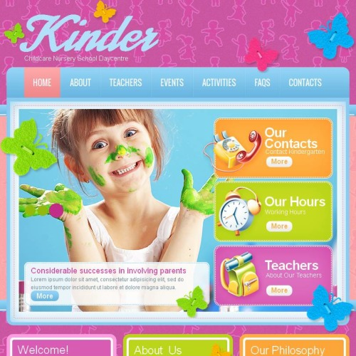 Kinder - Facebook HTML CMS Template