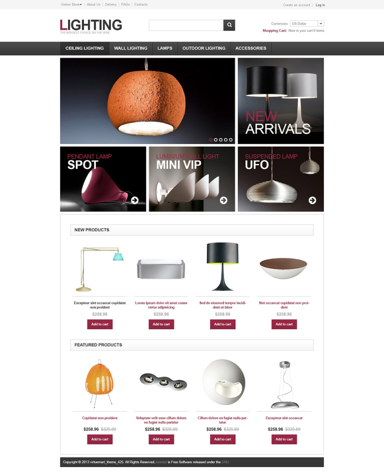 Lighting for Home and Office VirtueMart Template New Screenshots BIG