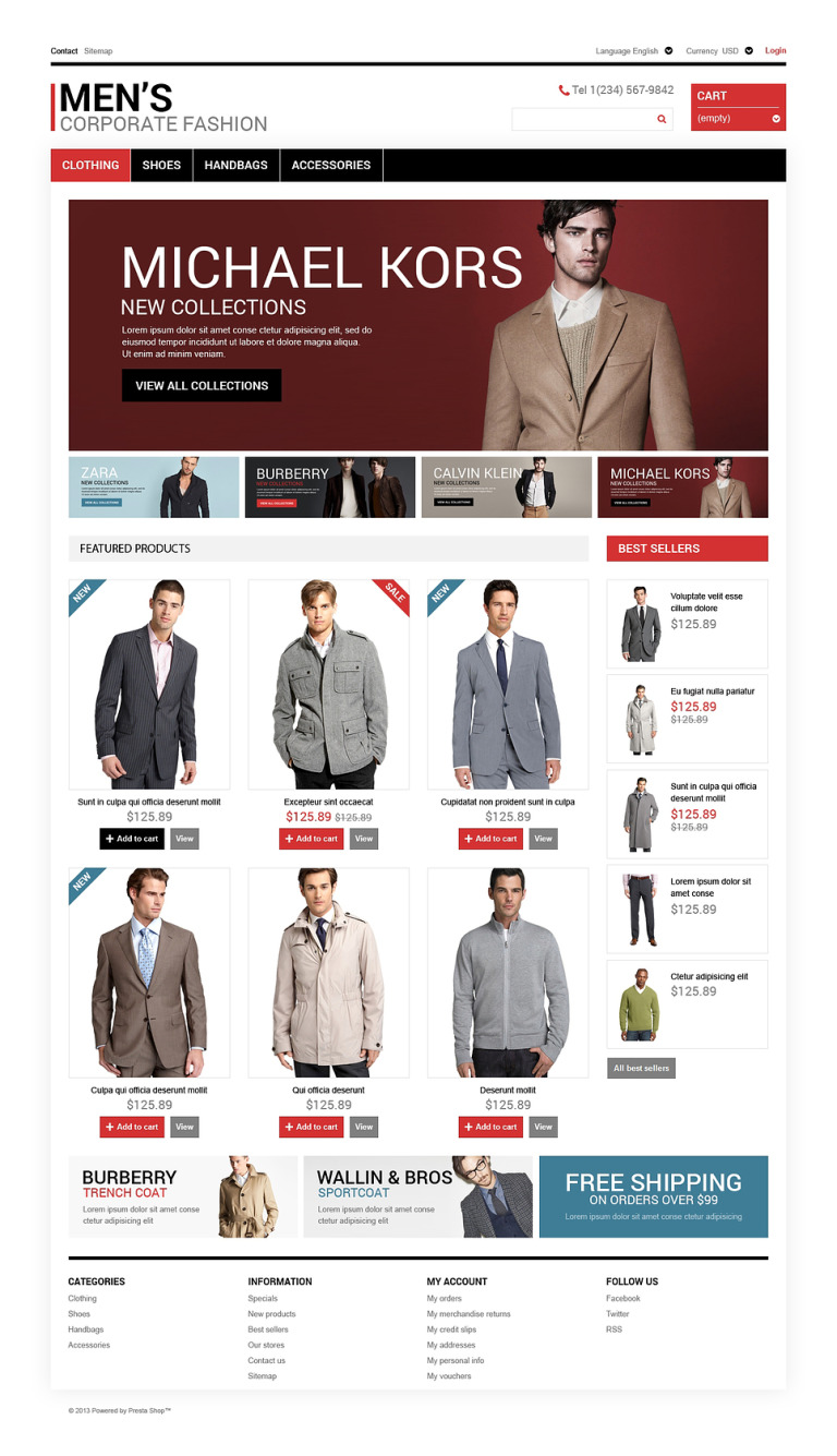 Men's Corporate Style PrestaShop Theme New Screenshots BIG