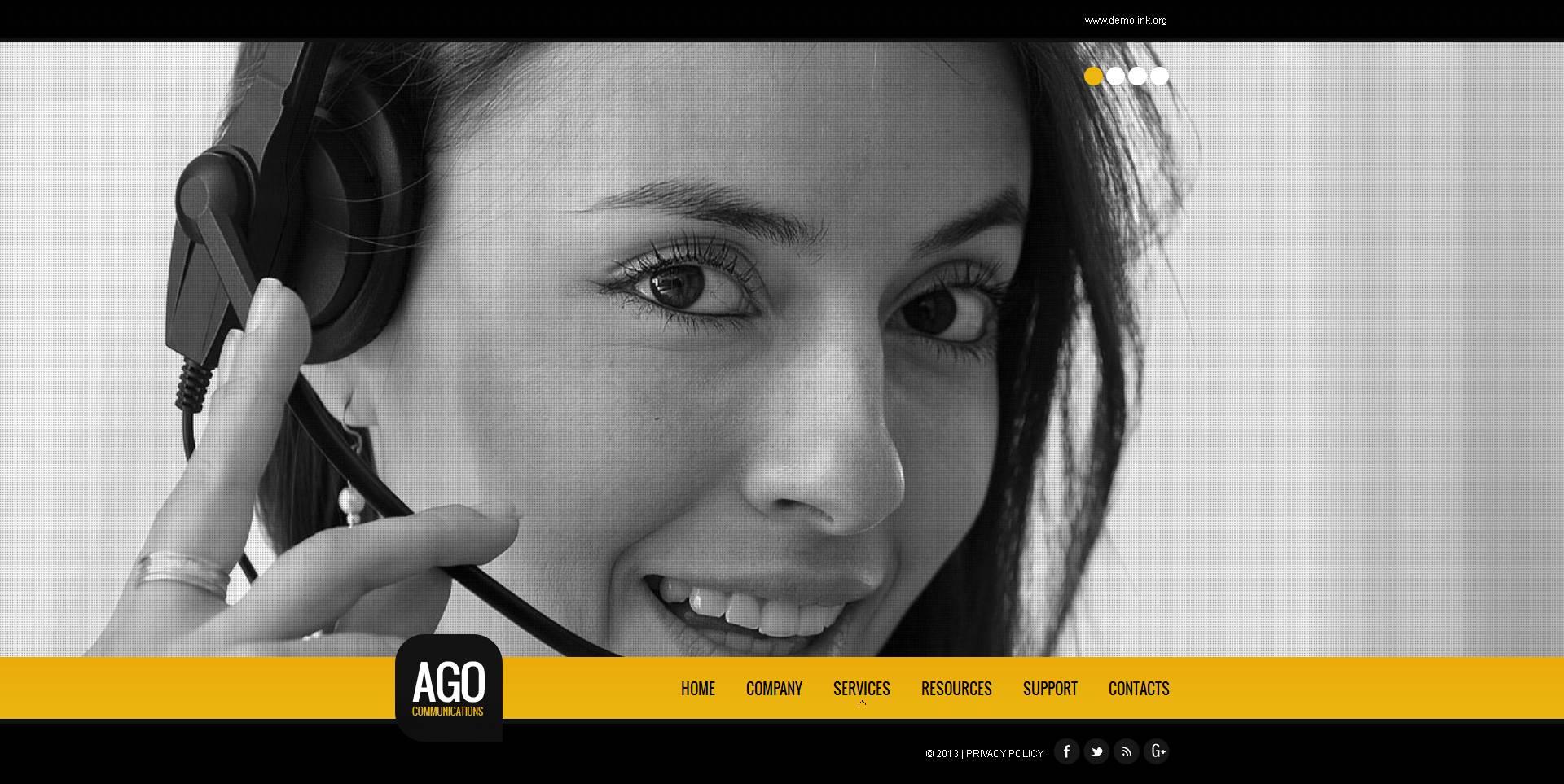 Modèle Moto CMS HTML Premium pour site de communications #46934 - screenshot