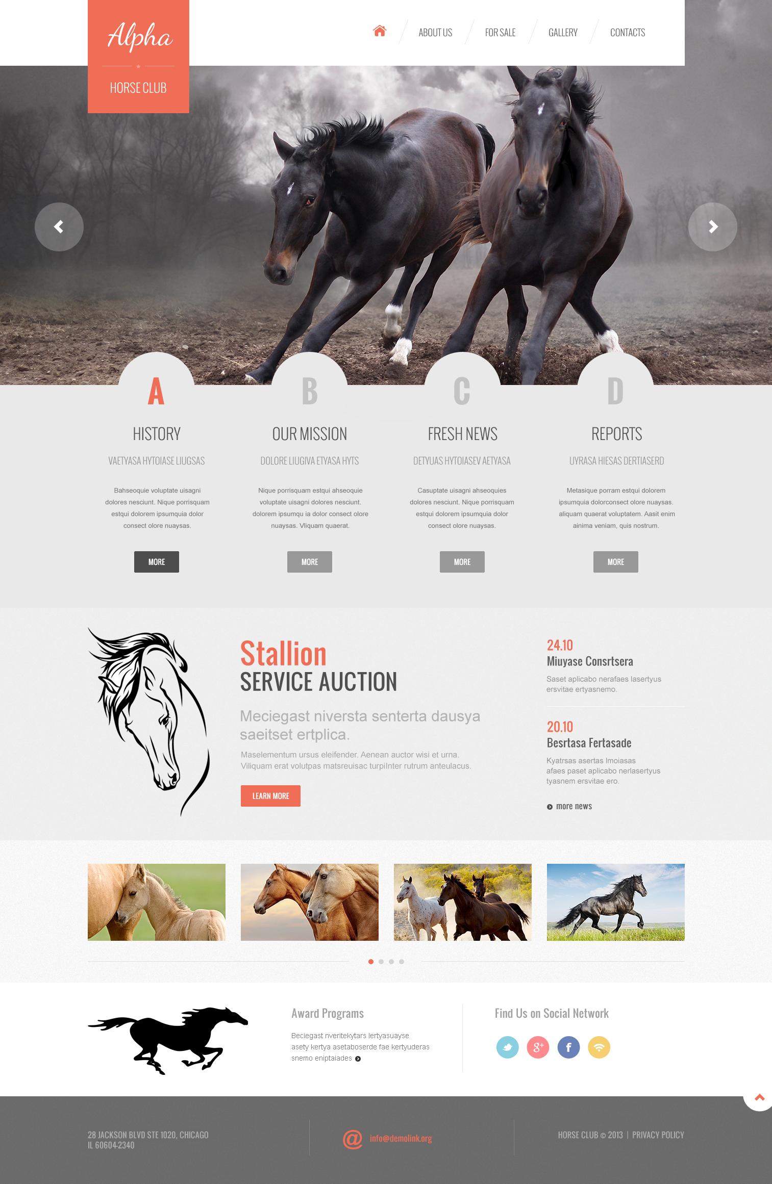 Modèle Web adaptatif pour sites de chevaux #46921