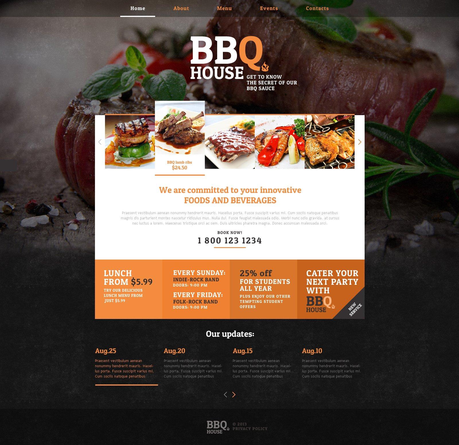 Modello Siti Web Responsive #46913 per Un Sito di Barbecue