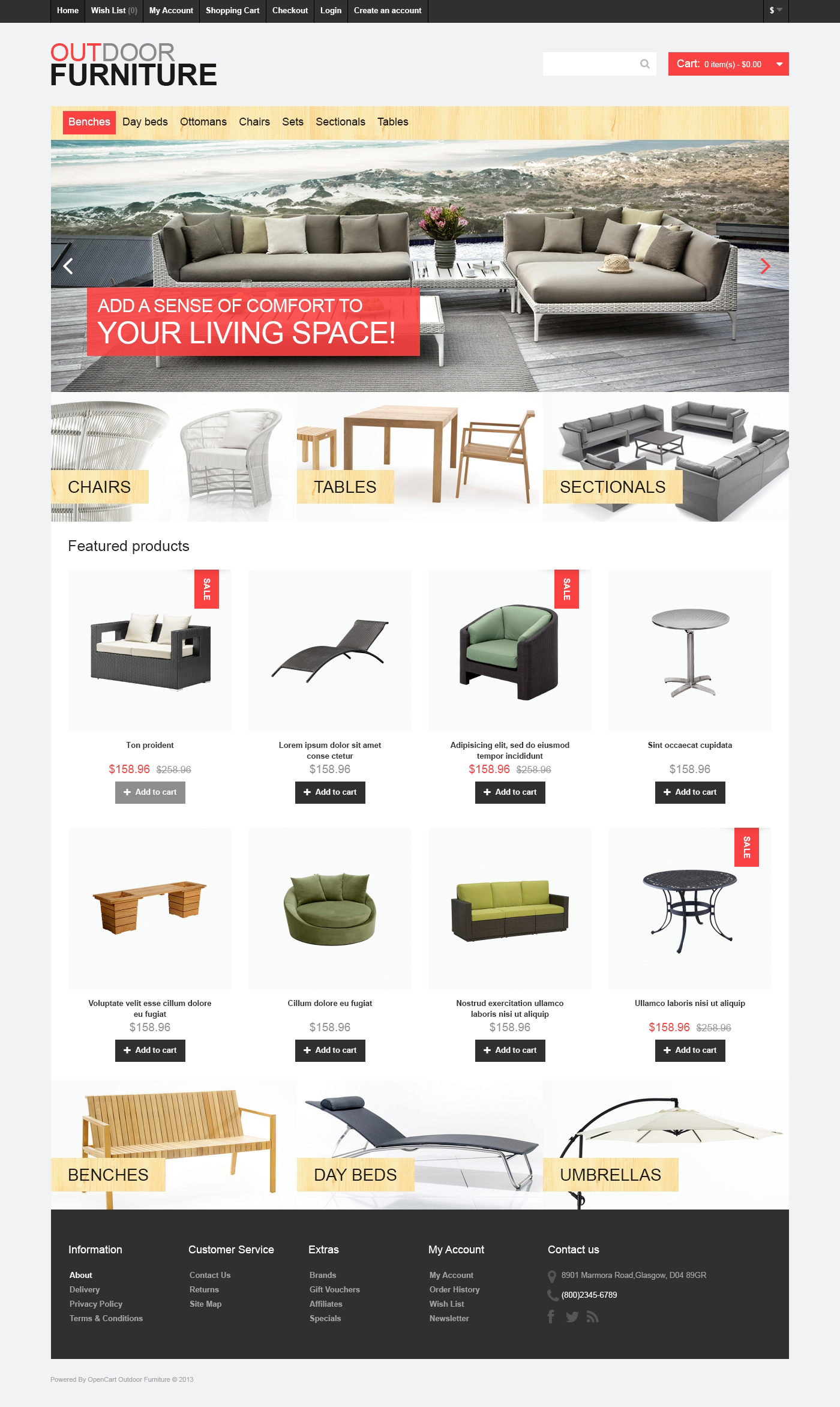 """Outdoor Furniture"" OpenCart模板 #46977 - 截图"
