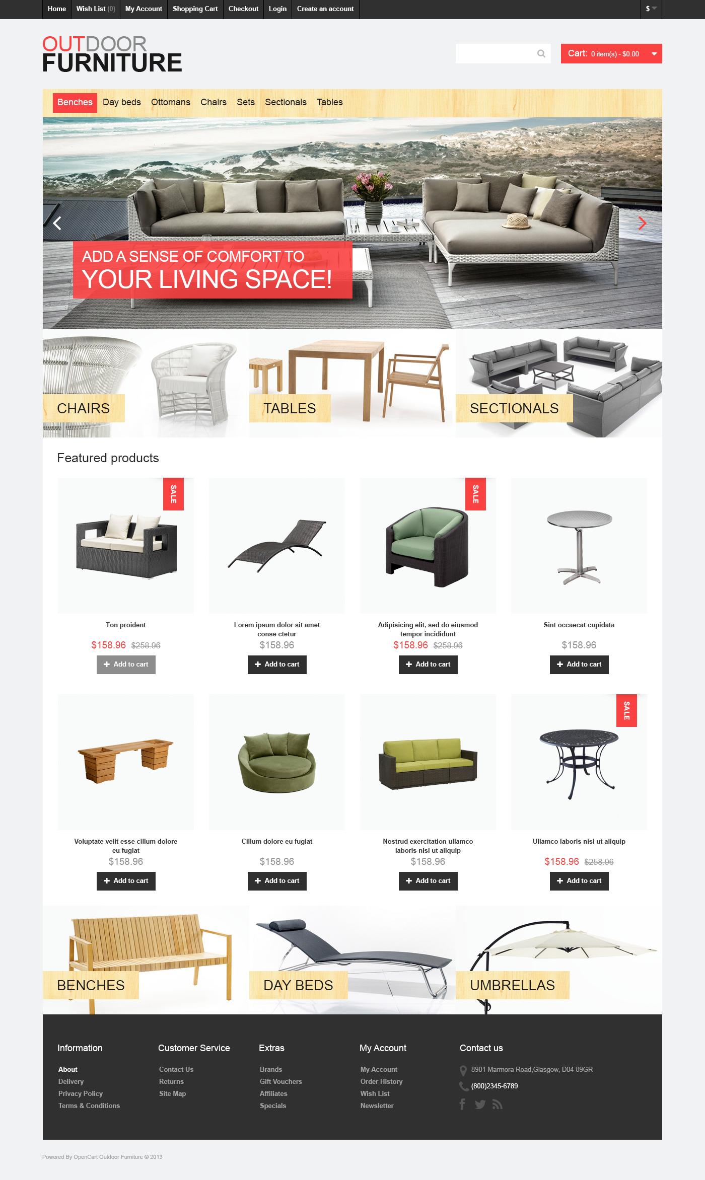 """Outdoor Furniture"" - OpenCart шаблон №46977 - скріншот"
