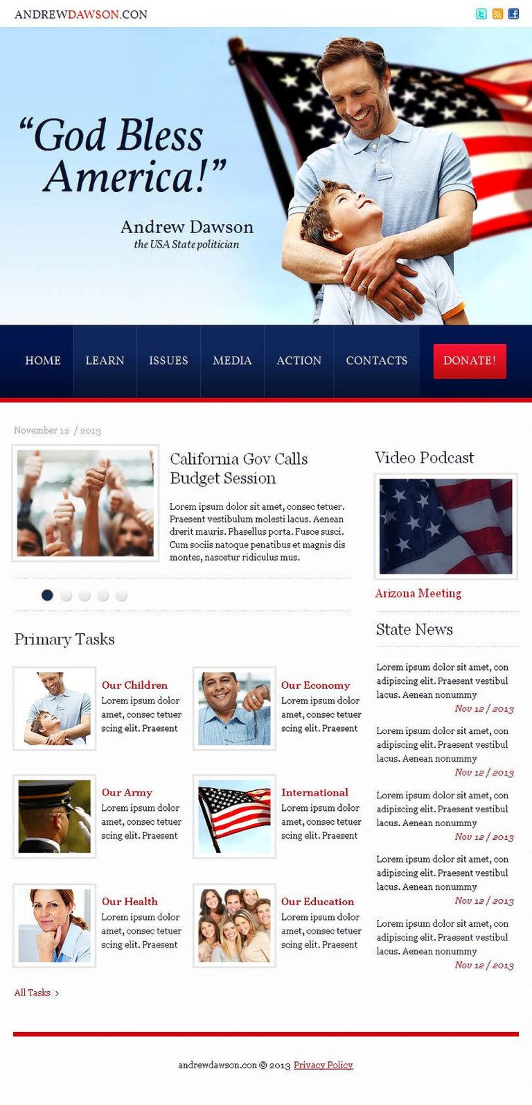 Political Candidate Facebook HTML CMS Template New Screenshots BIG