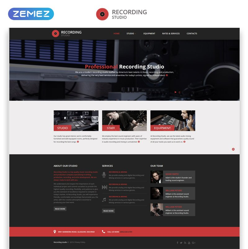 Recording Studio - Music Minimal Responsive HTML Website Template