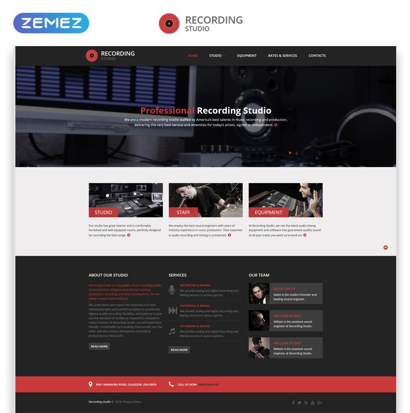 """Recording Studio - Music Minimal Responsive HTML"" 响应式网页模板 #46915"