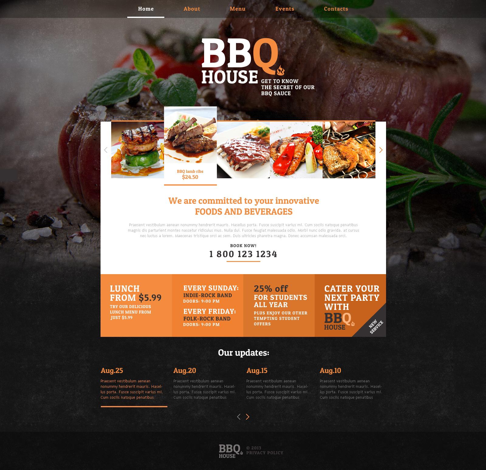 Responsive Website template over BBQ restaurant №46913