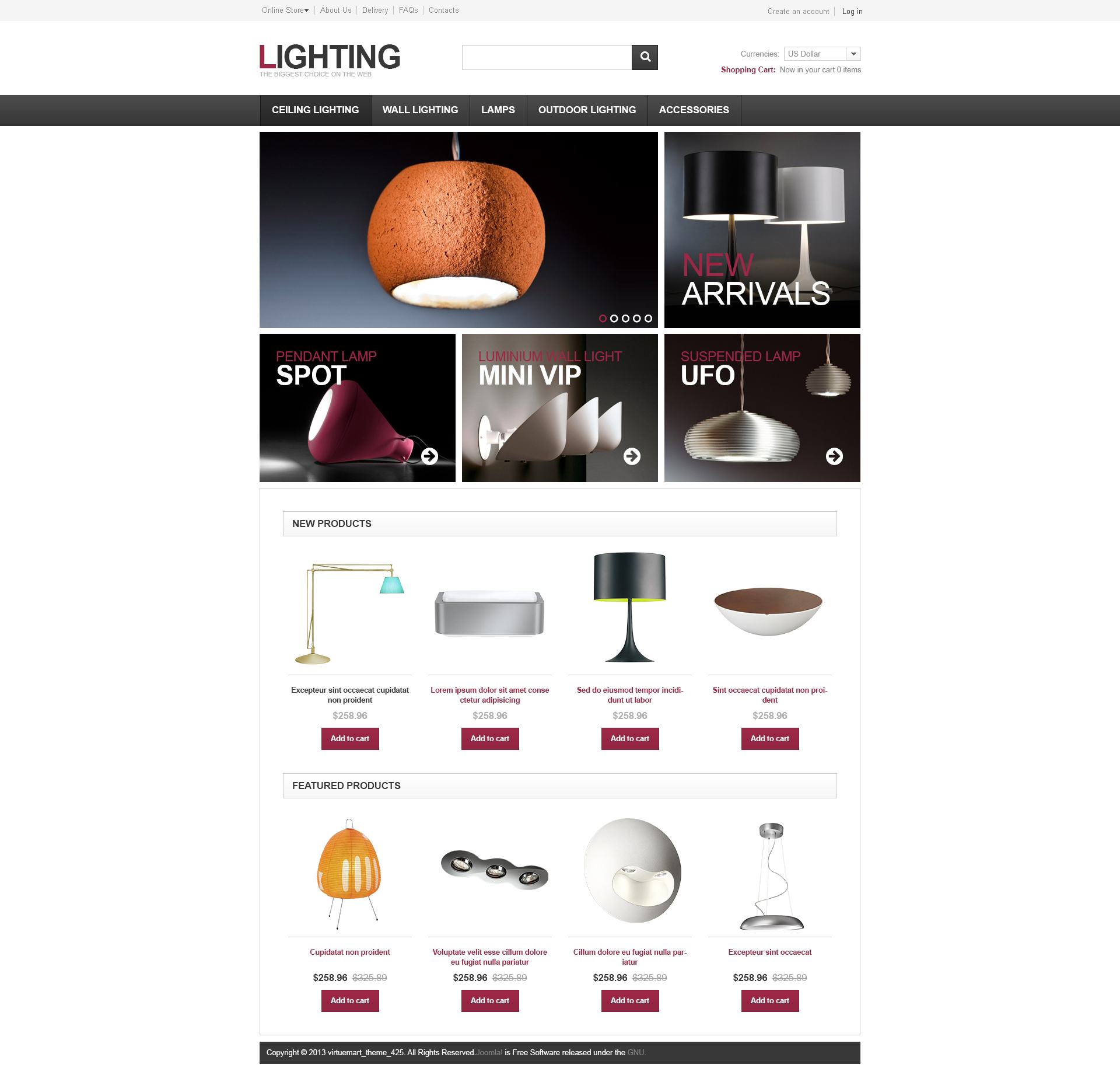 """Template VirtueMart #46927 """"Lighting for Home and Office"""""""