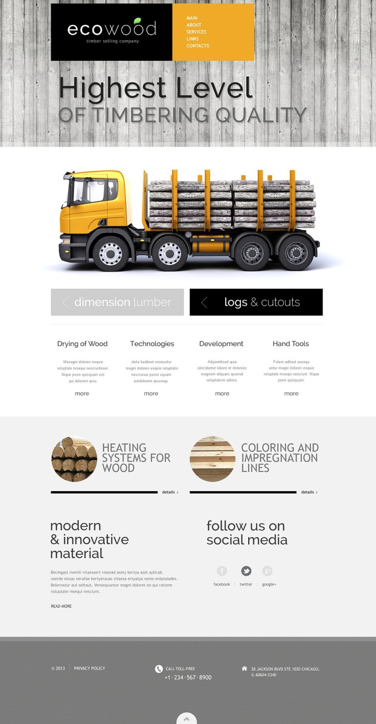 Timber Responsive Website Template New Screenshots BIG