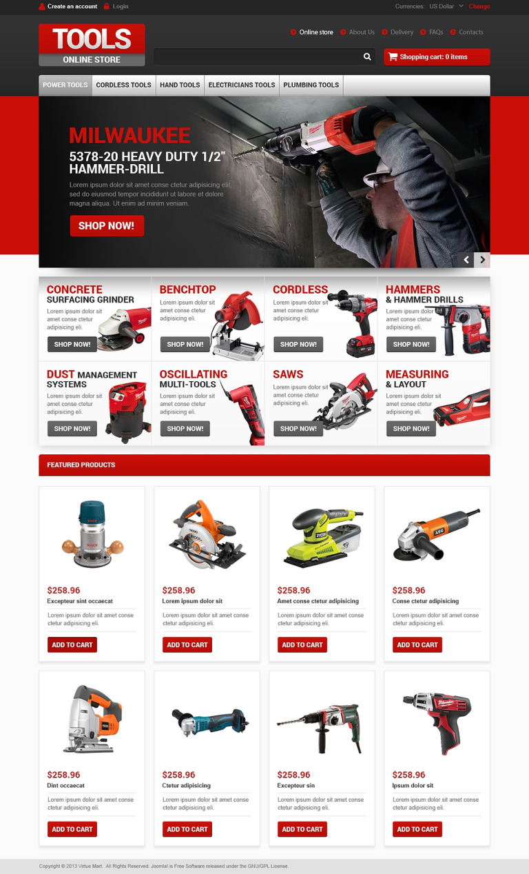 Tools for Workers VirtueMart Template New Screenshots BIG