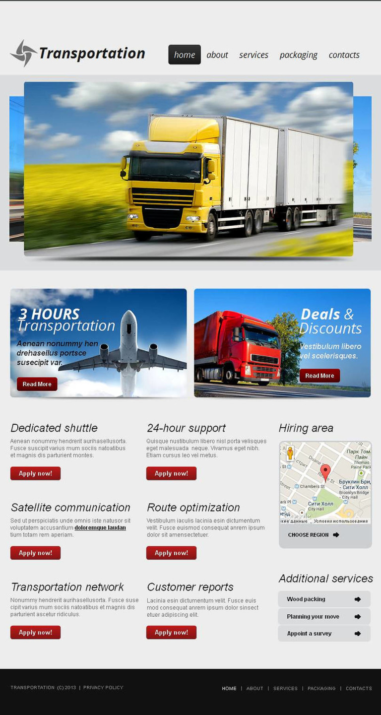 Trucking Facebook HTML CMS Template New Screenshots BIG
