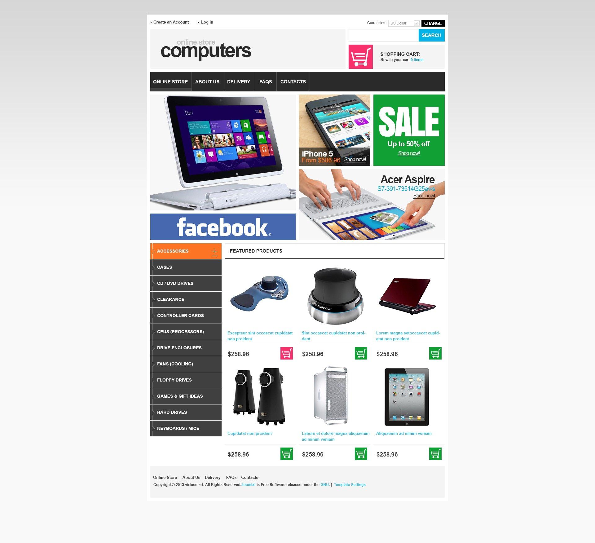 """VirtueMart Vorlage namens """"Computerkomponenten"""" #46984"""