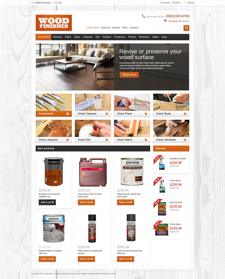 Wood Finishes VirtueMart Template New Screenshots BIG