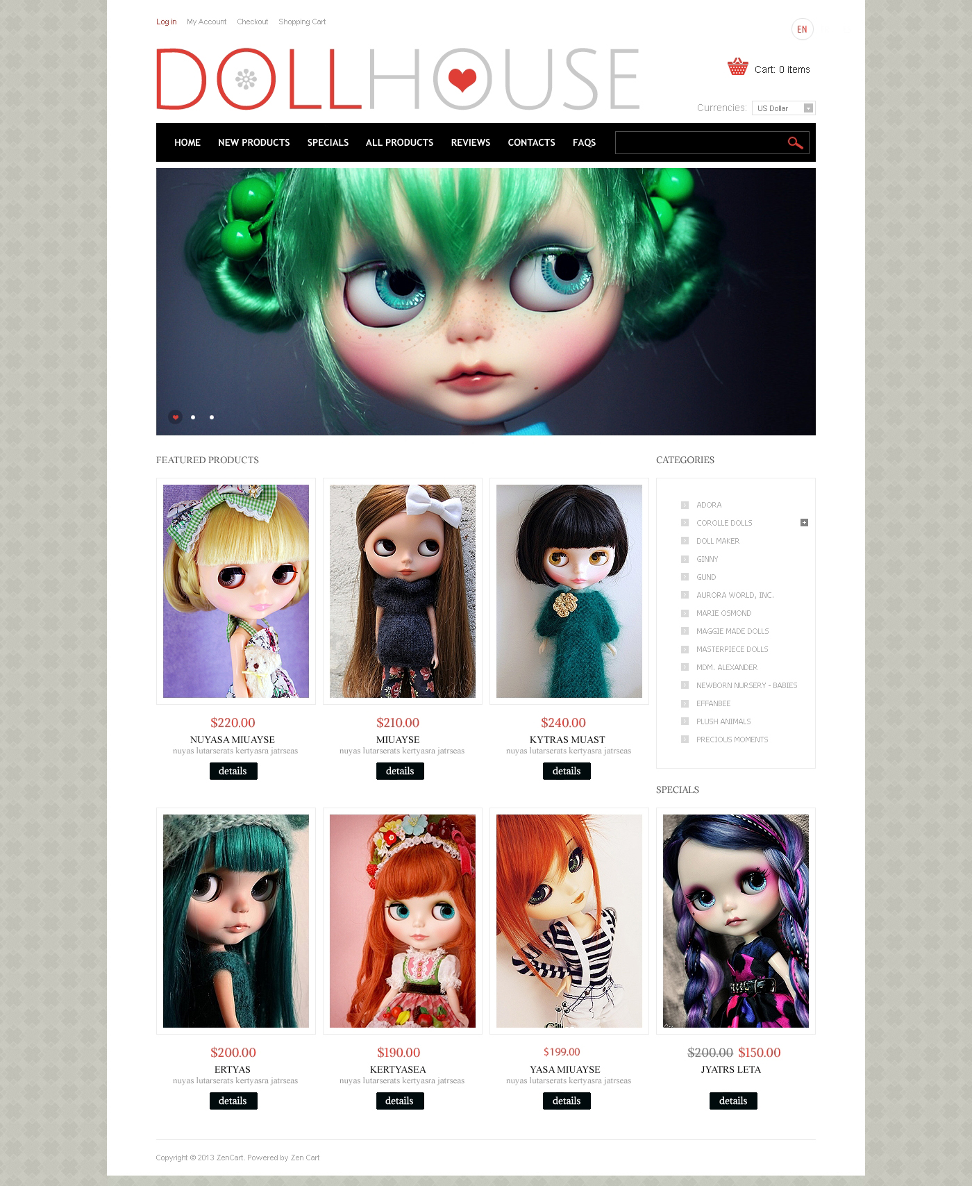"ZenCart Vorlage namens ""Doll House"" #46970"