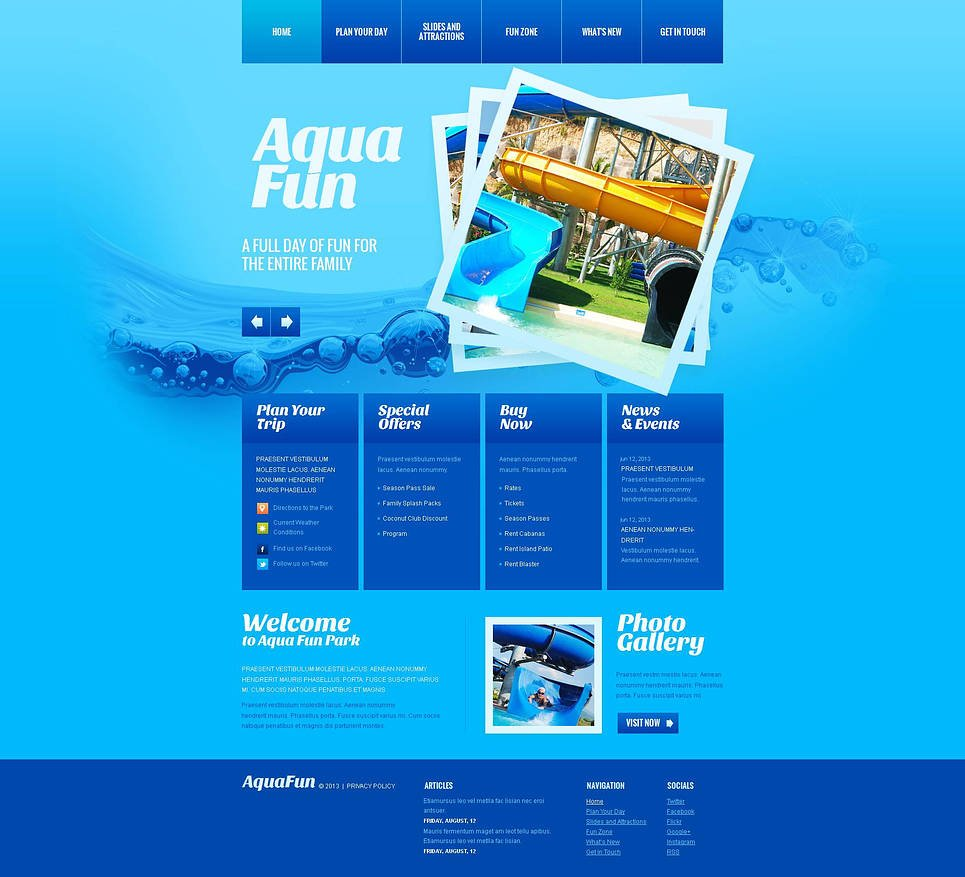 Water Park Website Template Designed in Blue - image