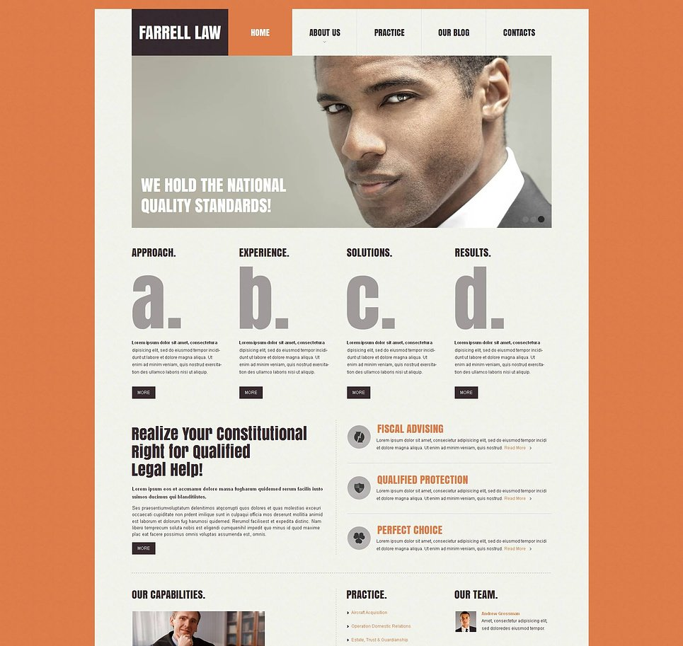 Law Website Template with Orange Background - image