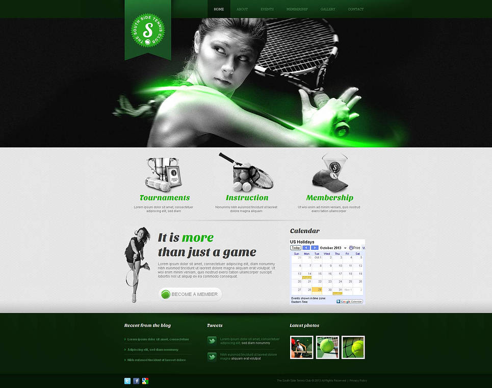Tennis Website Template in Green Colors - image