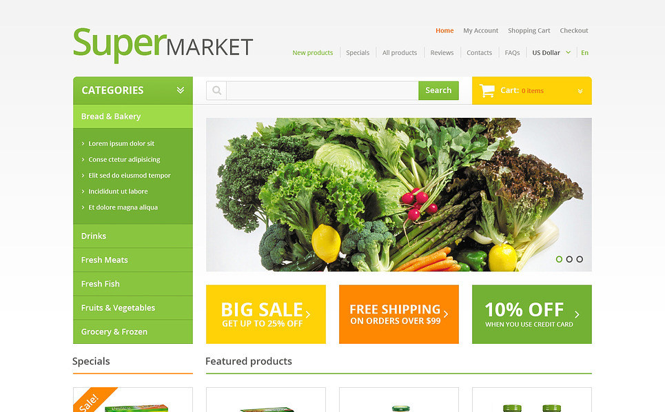 Szablon ZenCart #47069 na temat: sklep spożywczy New Screenshots BIG
