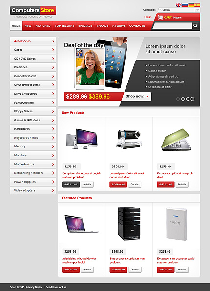 osCommerce Template 47090 Main Page Screenshot