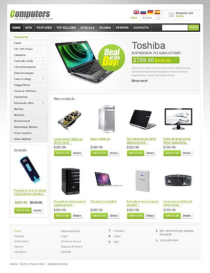 osCommerce Template 47091 Main Page Screenshot