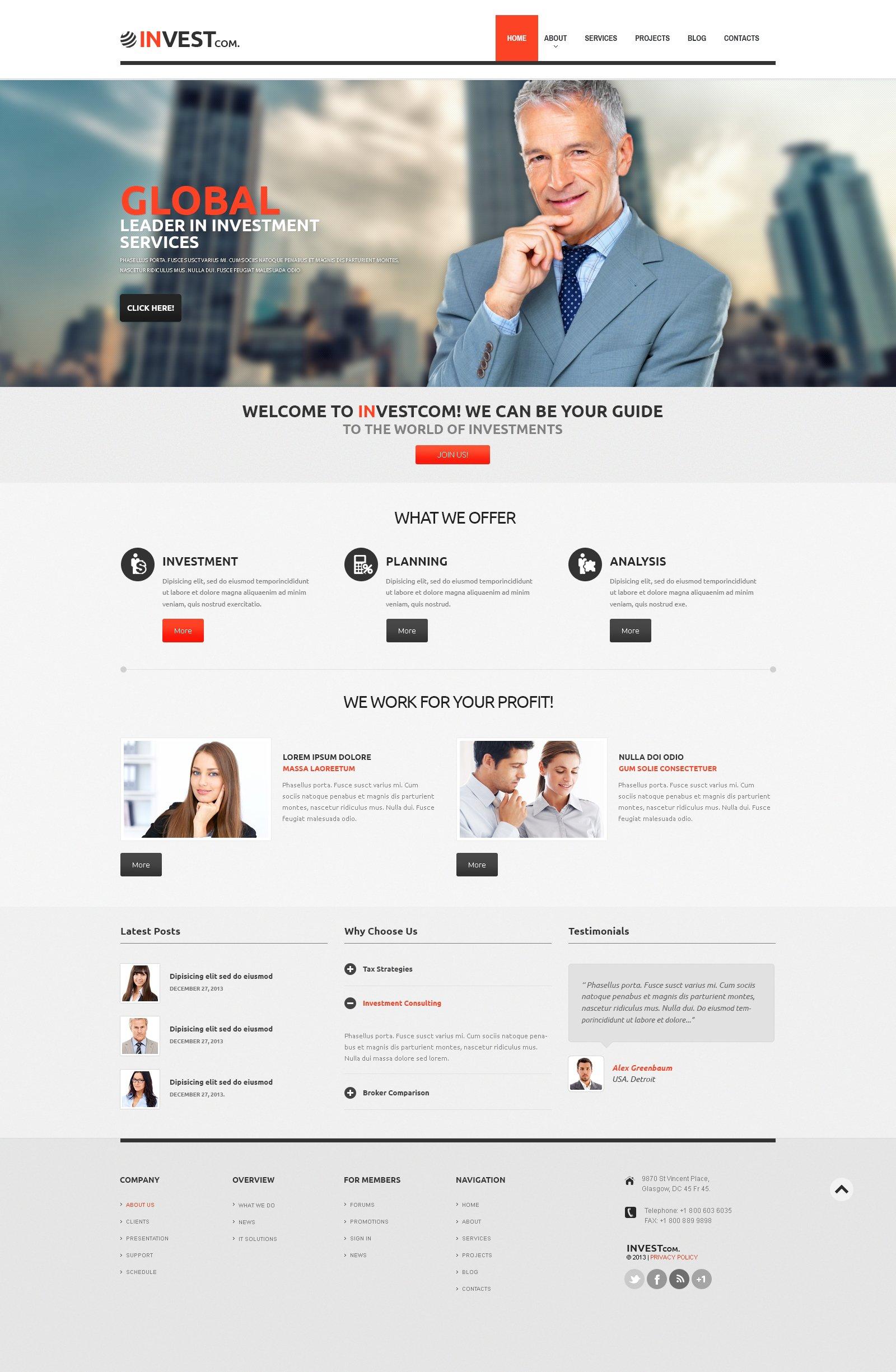 Адаптивный WordPress шаблон №47001 на тему инвестиционная компания