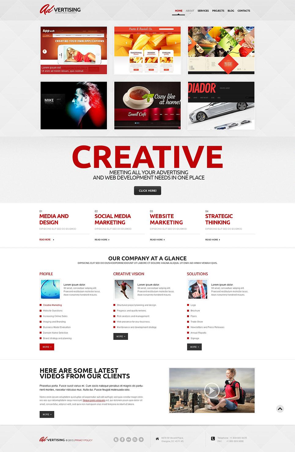 Адаптивный шаблон сайта на тему рекламное агентство #47007