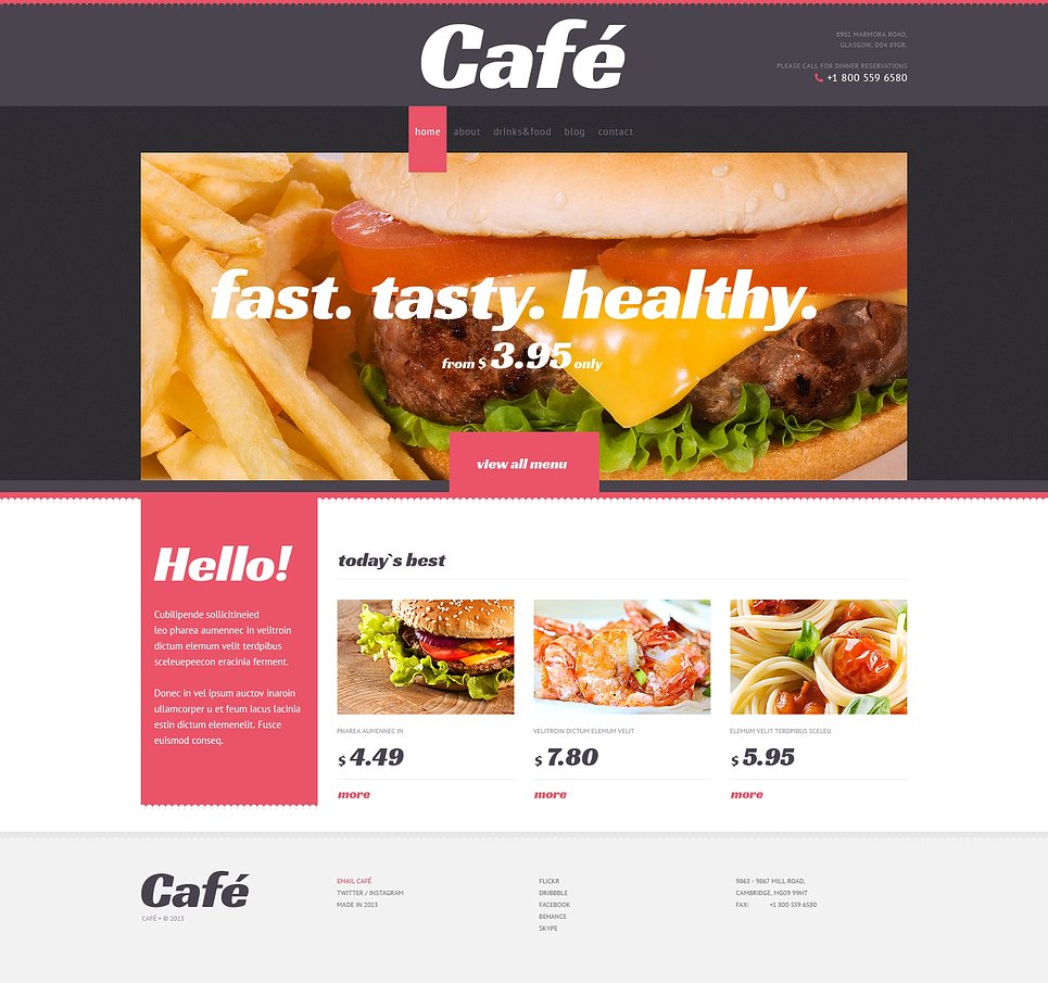 Адаптивный шаблон сайта на тему кафе #47008
