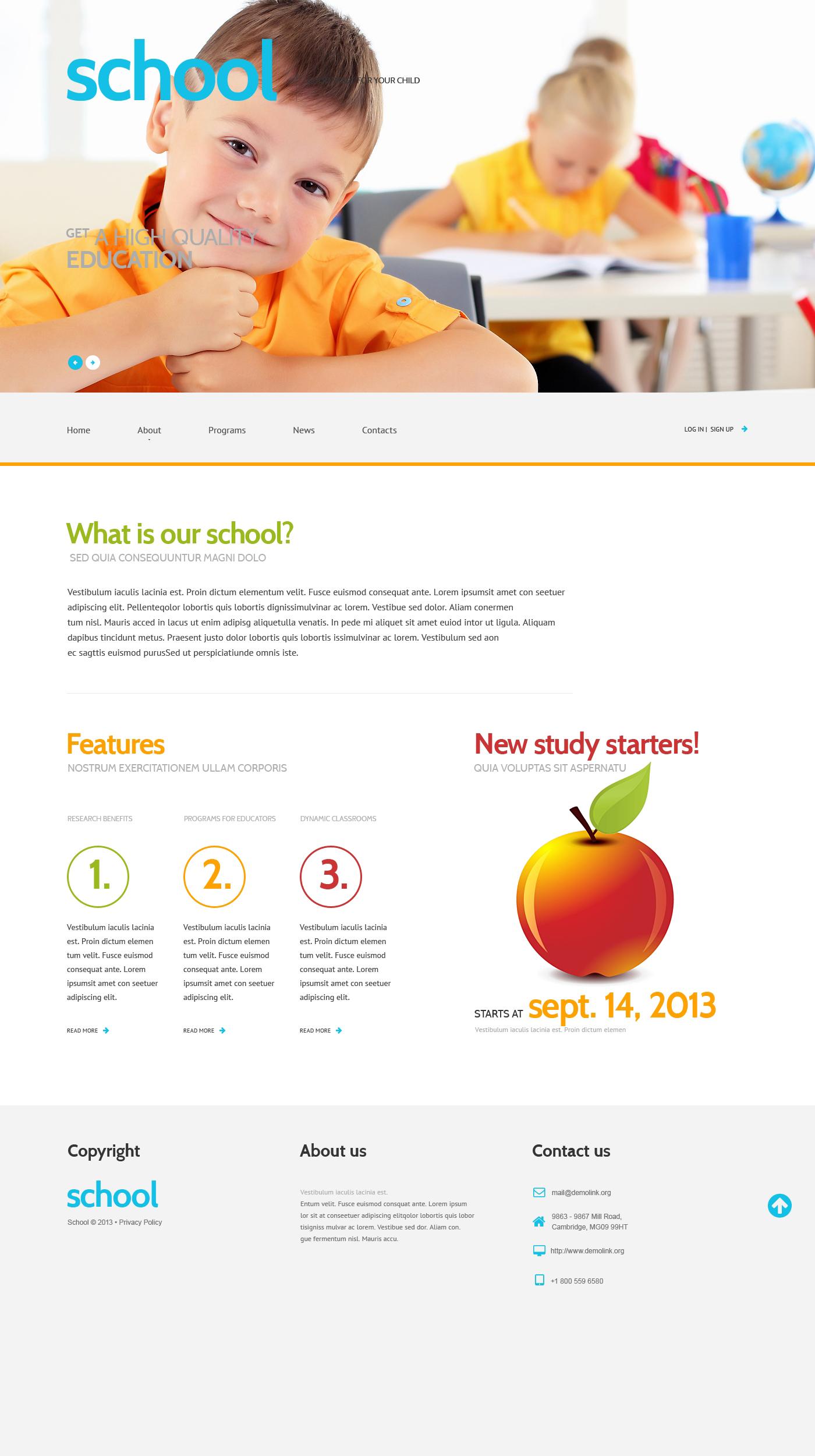 Адаптивный WordPress шаблон №47012 на тему средняя школа - скриншот