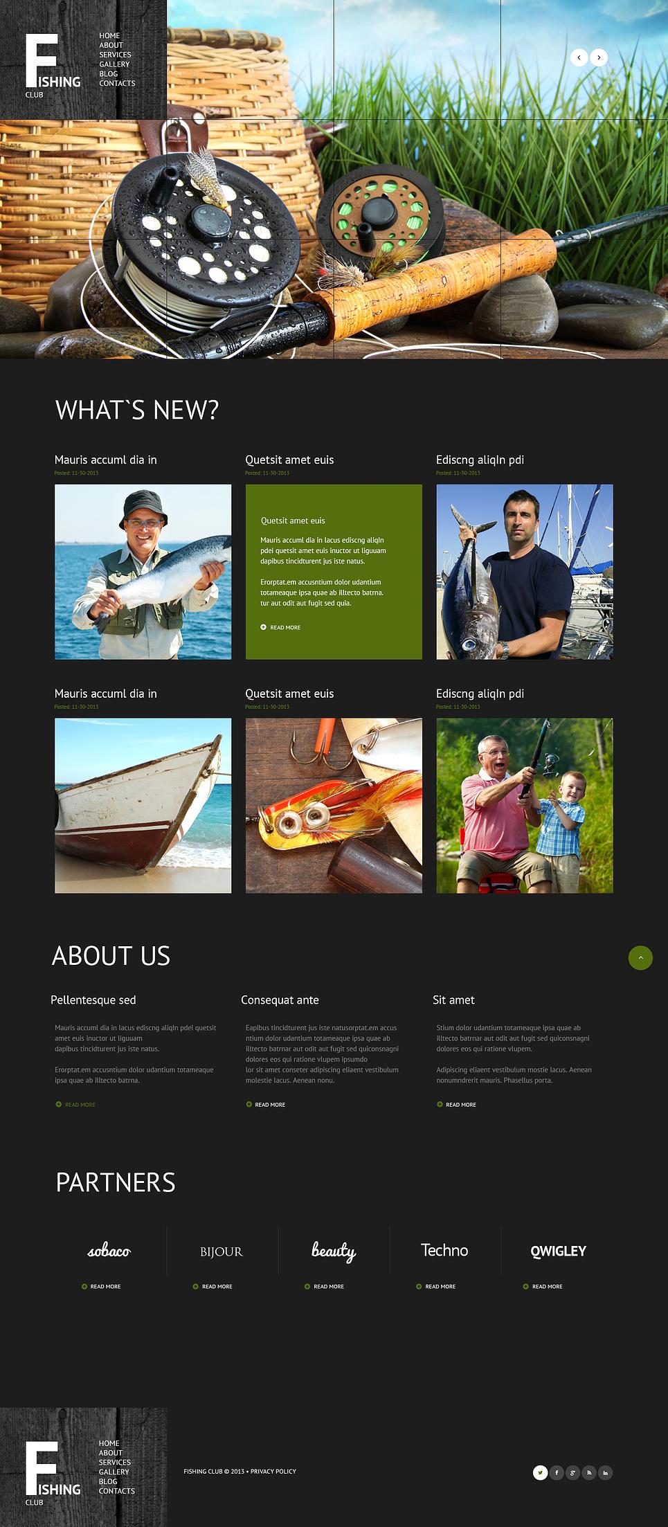 Адаптивный шаблон сайта на тему рыбалка #47019