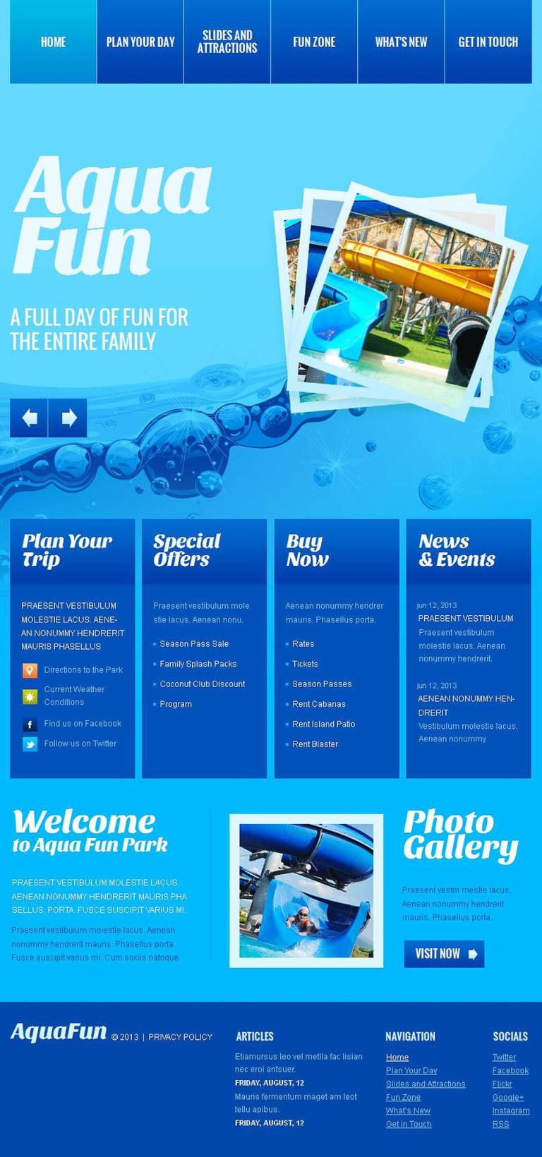 Amusement Park Facebook HTML CMS Template New Screenshots BIG