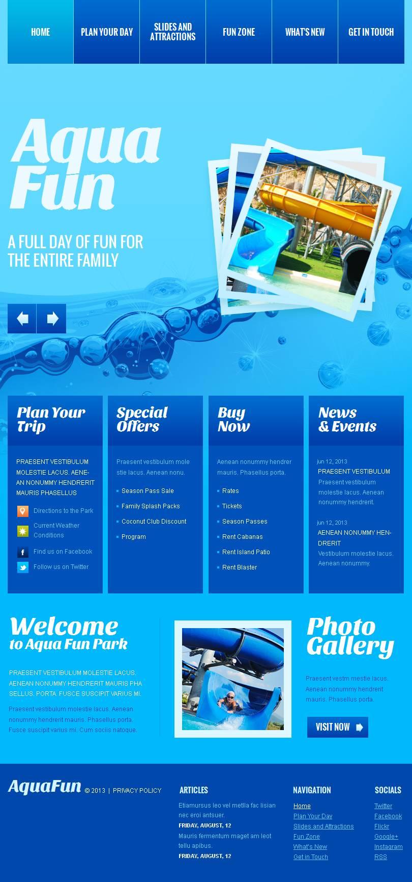 Amusement Park Facebook HTML CMS Template - screenshot