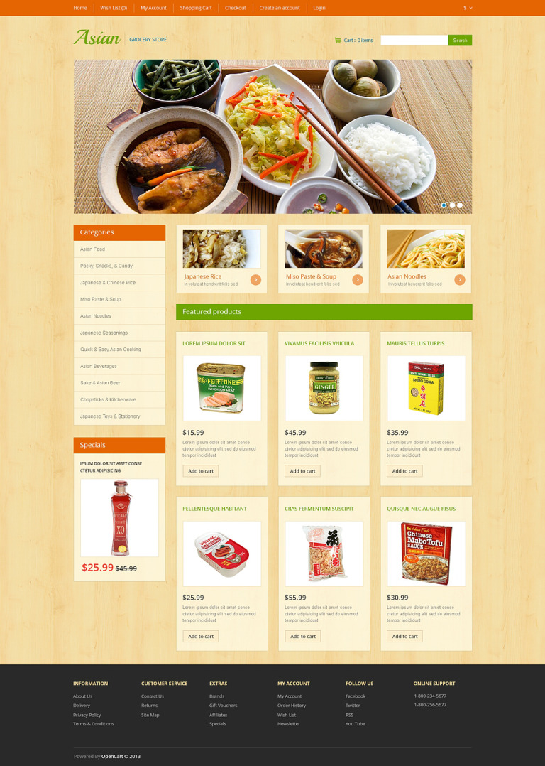 Asian Grocery OpenCart Template New Screenshots BIG