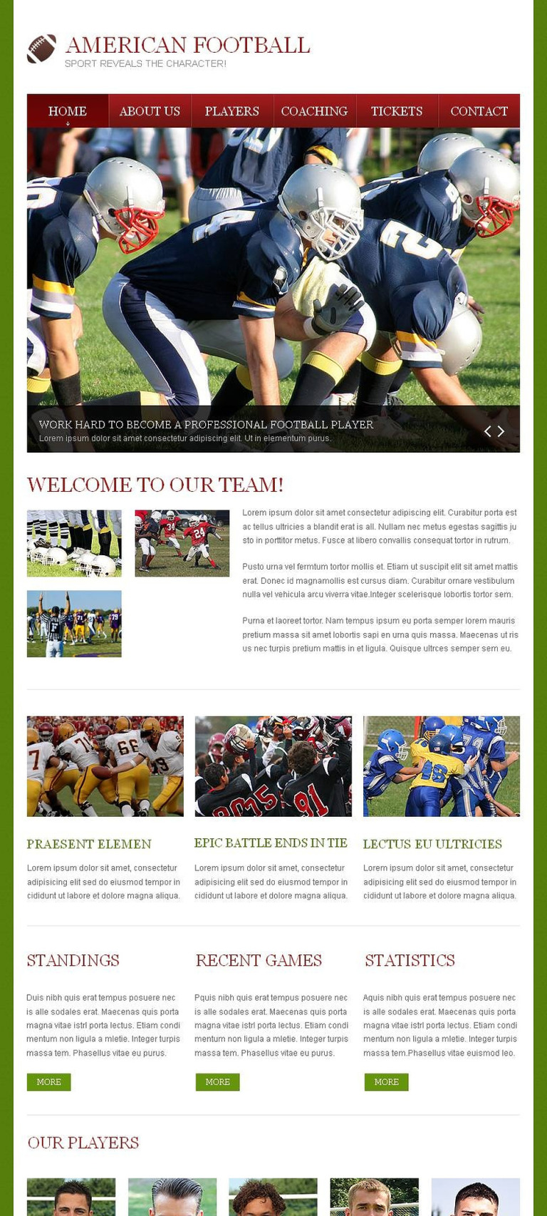 Football Facebook HTML CMS Template New Screenshots BIG