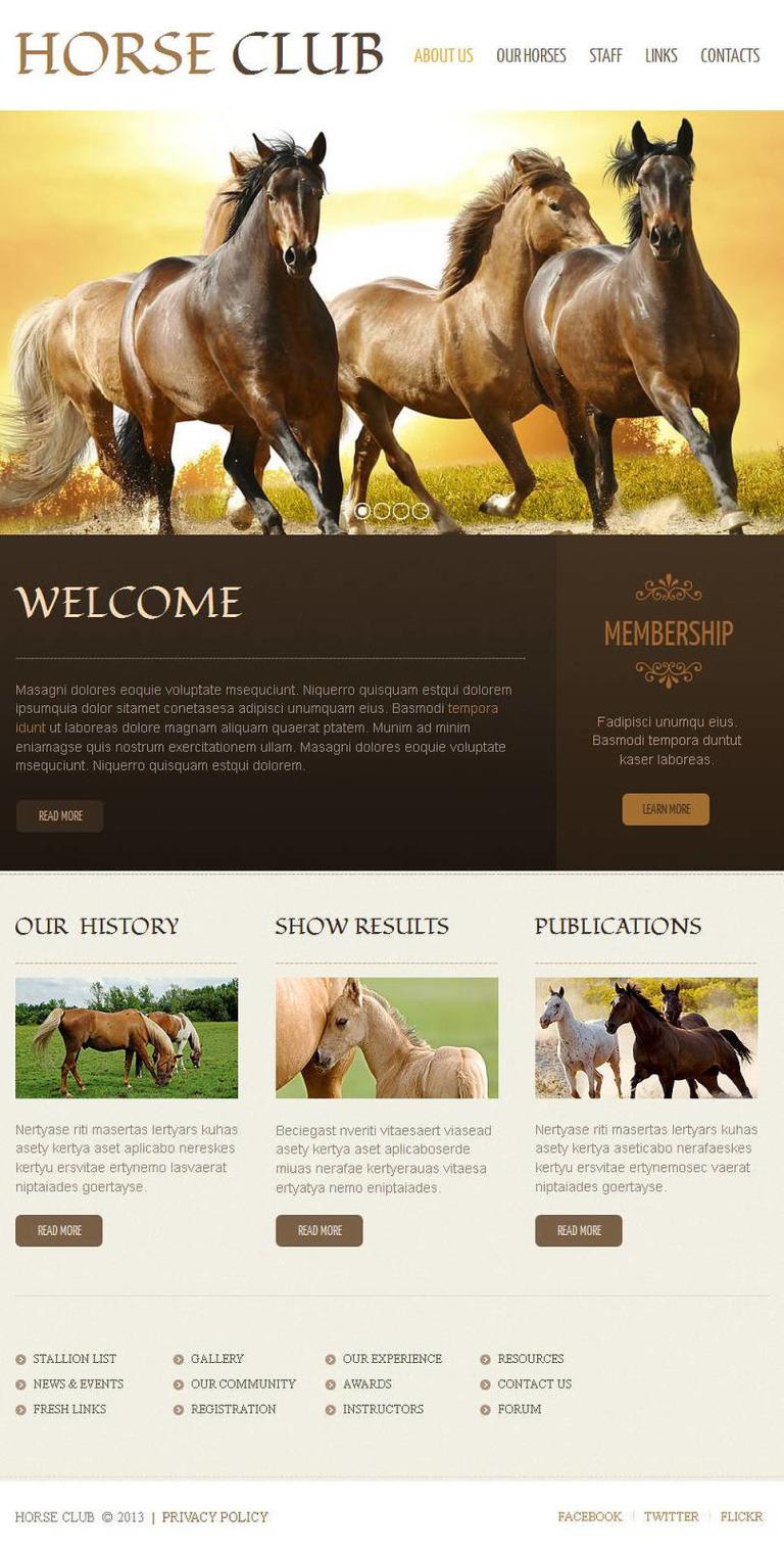 Horse Facebook HTML CMS Template New Screenshots BIG