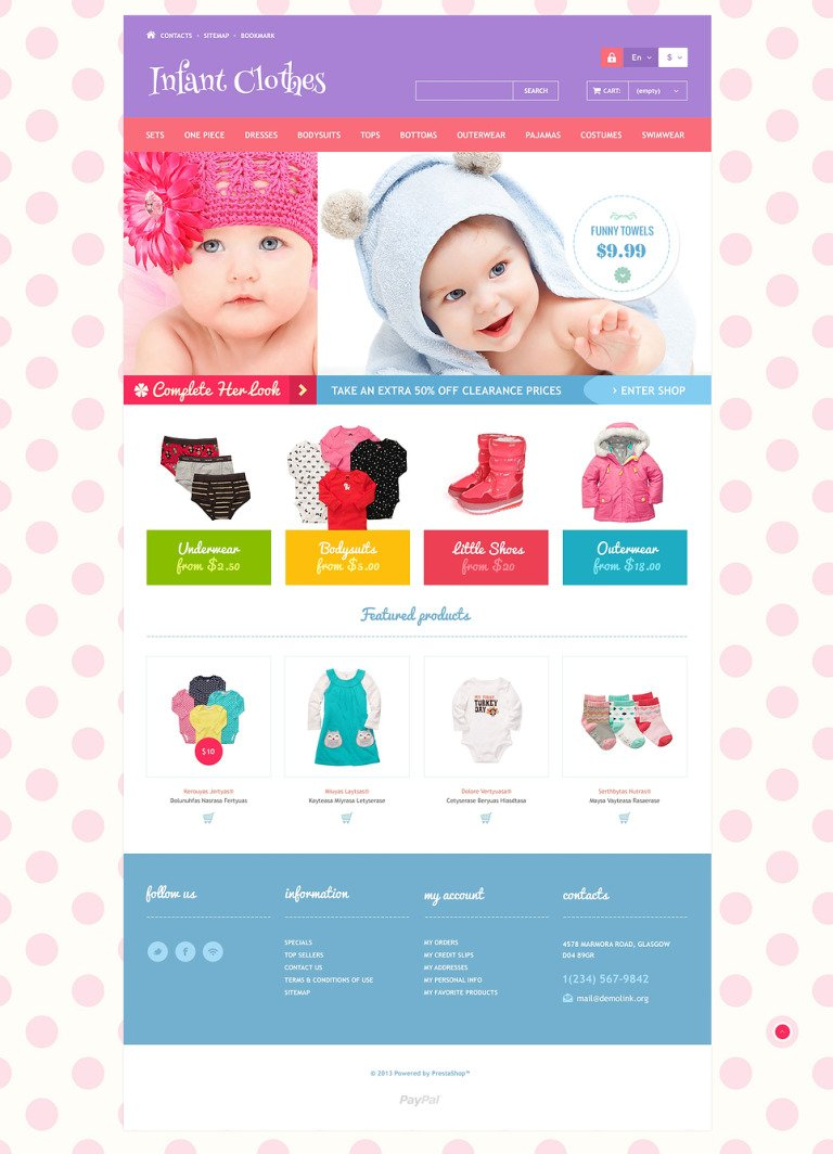 Infant Clothes PrestaShop Theme New Screenshots BIG