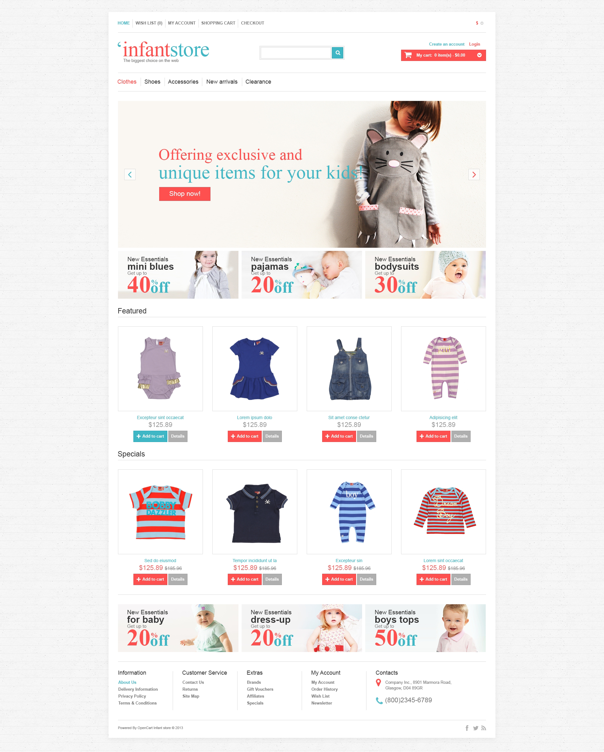 """Infant Store"" 响应式OpenCart模板 #47064 - 截图"