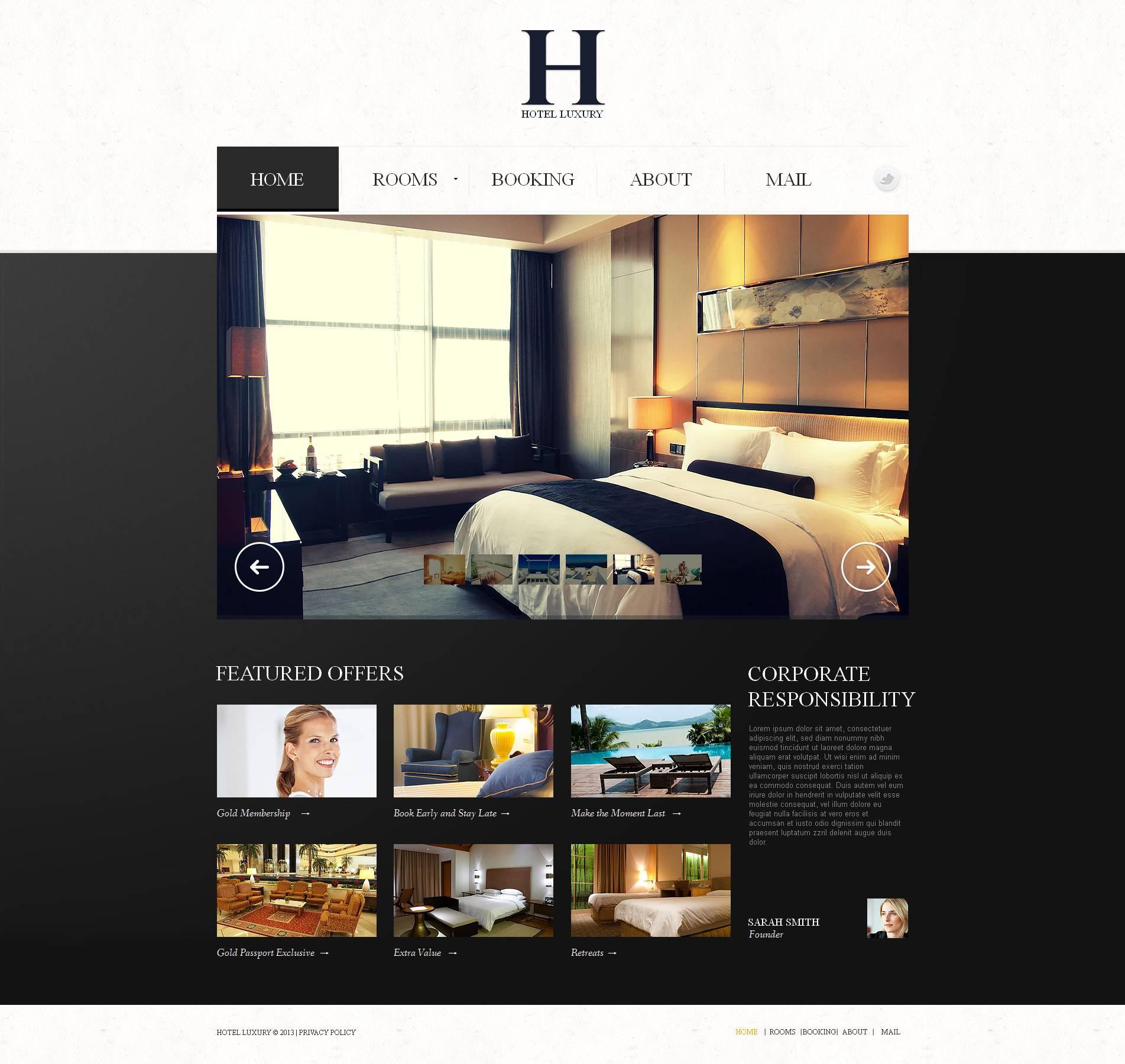 Modèle Moto CMS HTML Premium pour site d'hôtel #47031