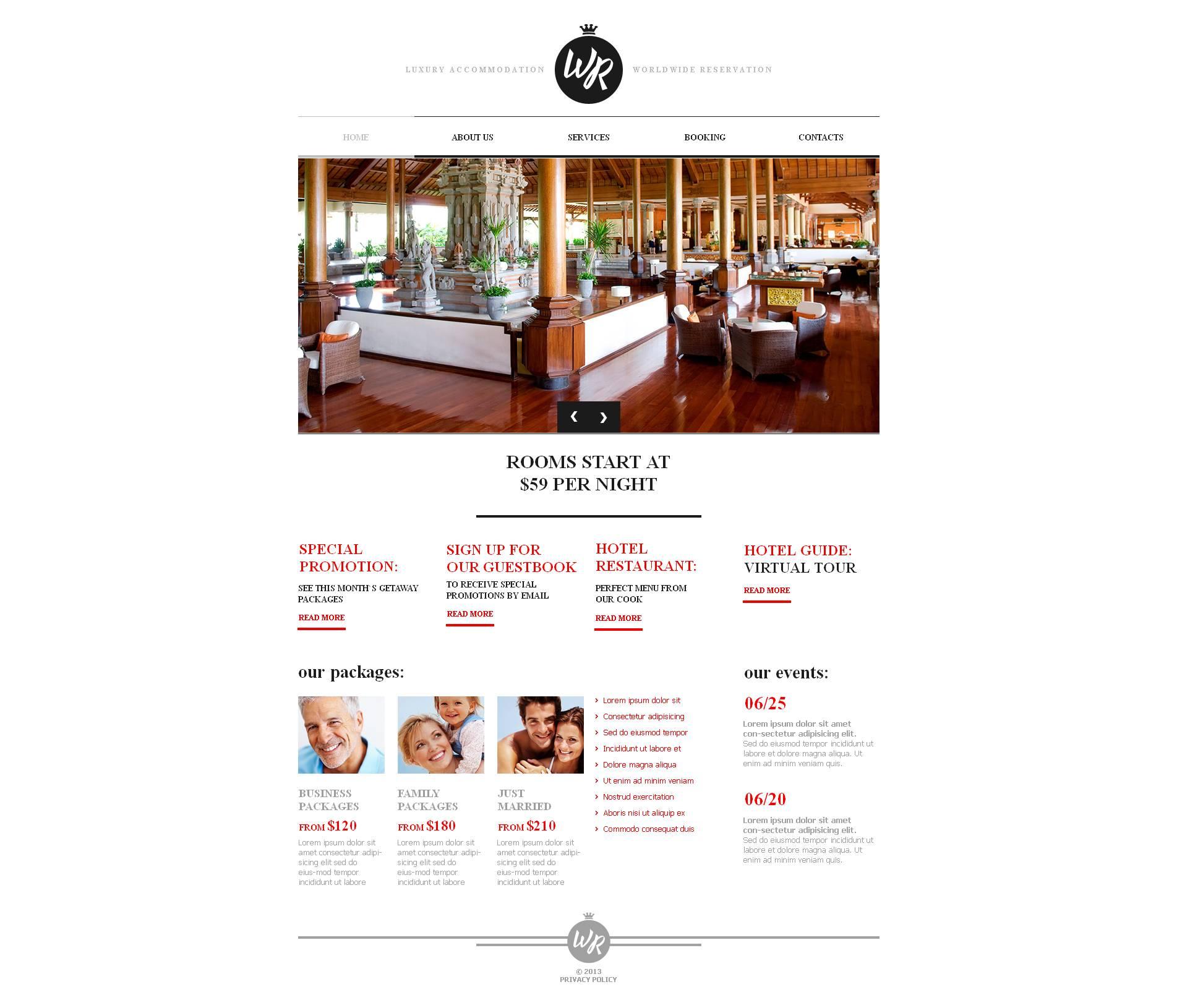 Modèle Moto CMS HTML Premium pour site d'hôtel #47040