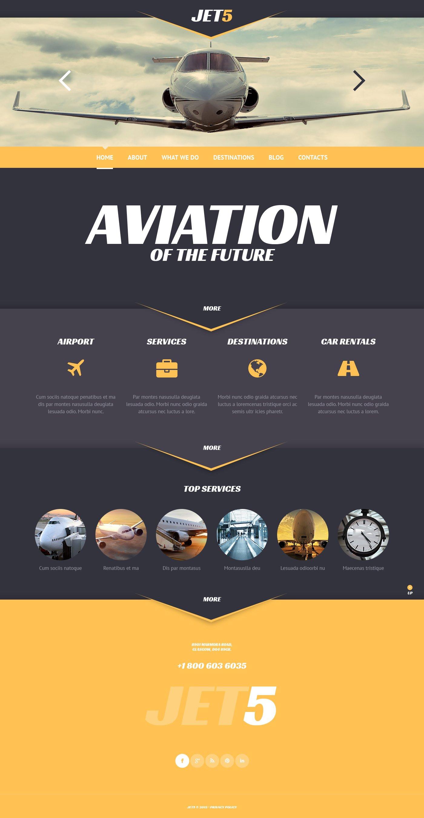 """Private Airlines"" - адаптивний WordPress шаблон №47005"