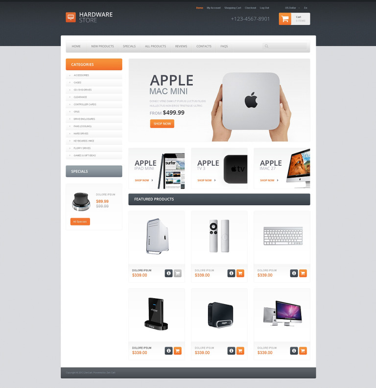 Quality Hardware ZenCart Template New Screenshots BIG
