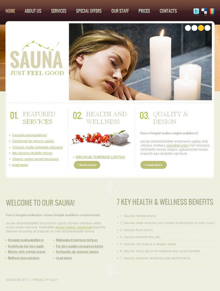 Sauna Facebook HTML CMS Template New Screenshots BIG