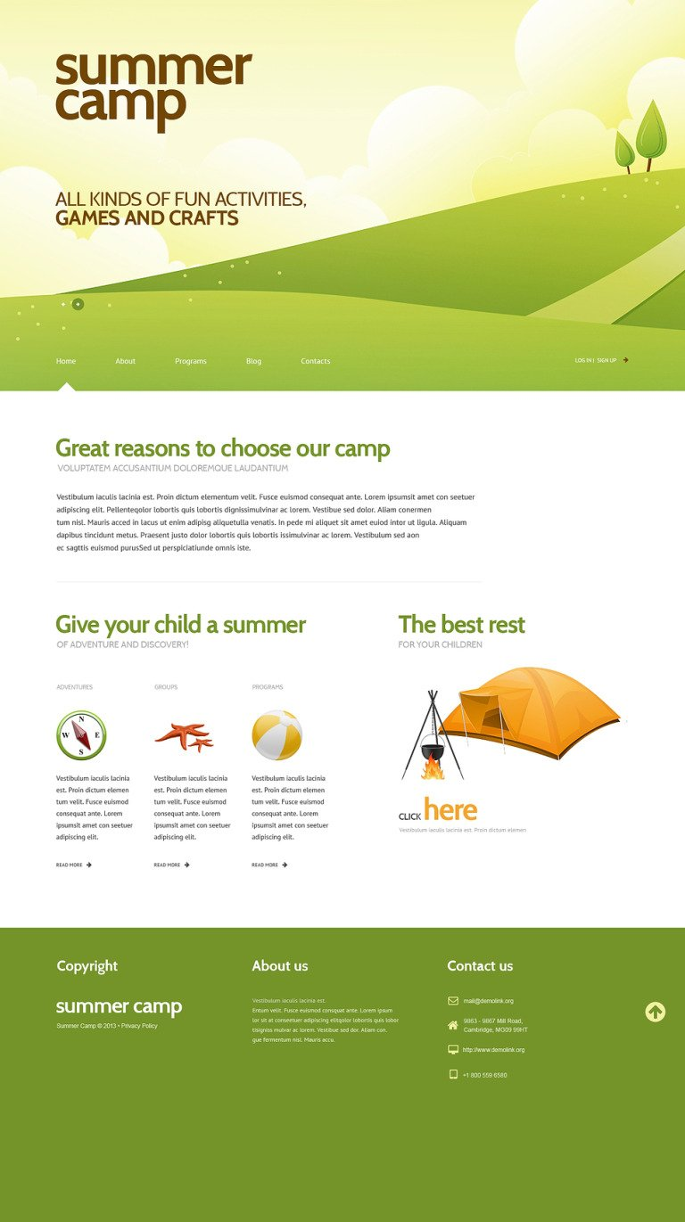 Summer Camp Responsive WordPress Theme New Screenshots BIG