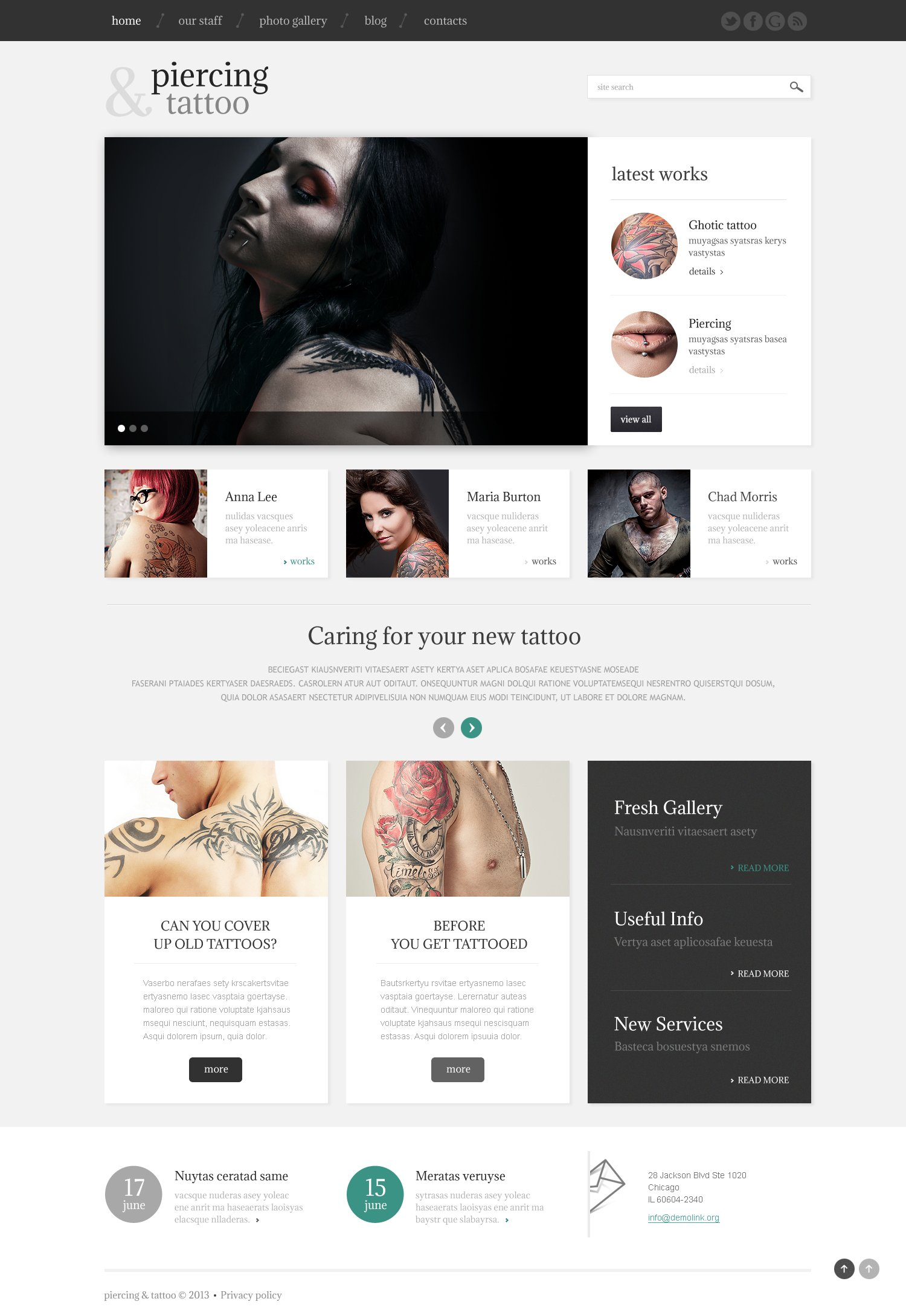 Tattoo Beauty Salon WordPress Theme - screenshot