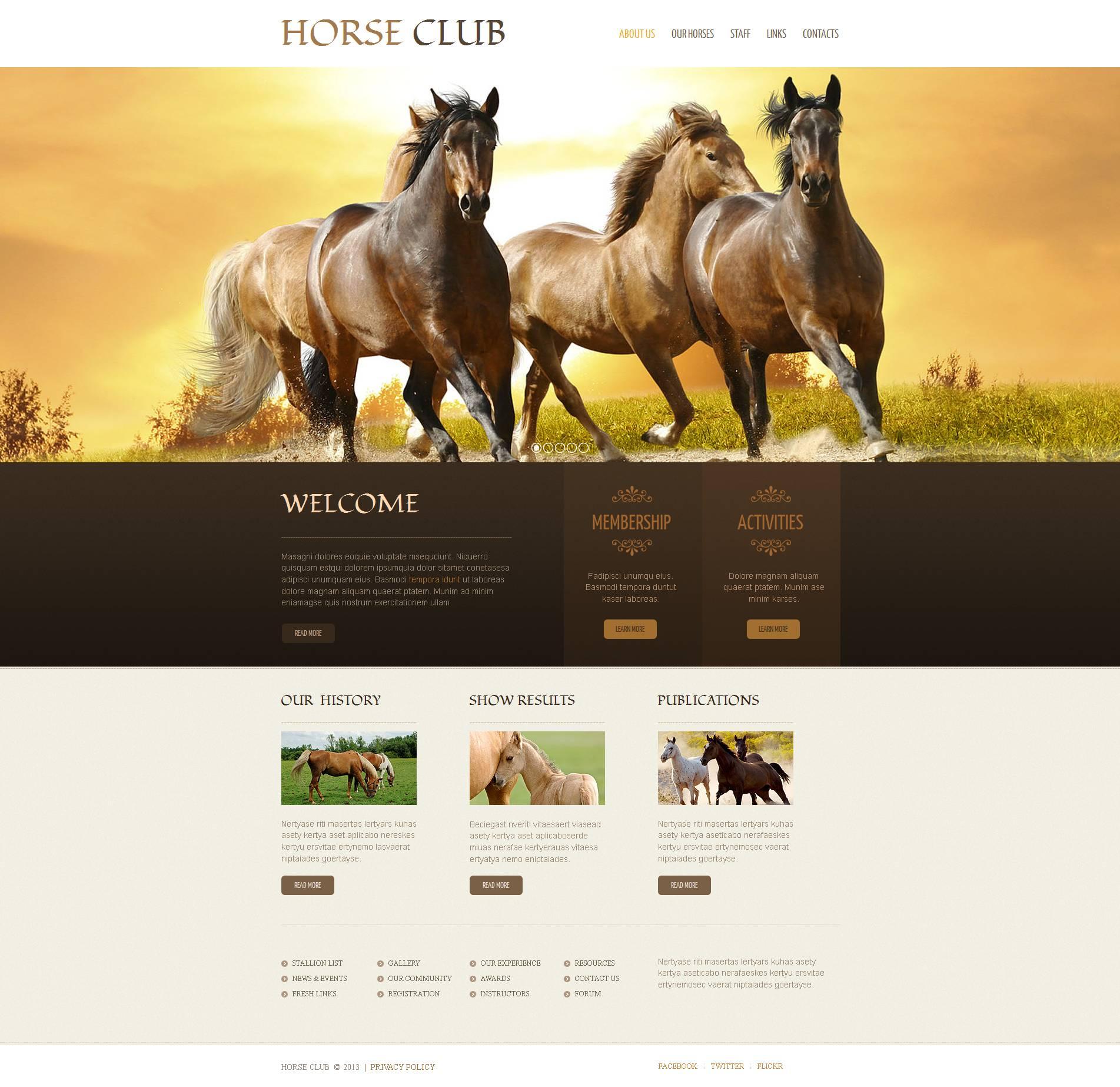 Template Moto CMS HTML #47029 per Un Sito di Cavalli