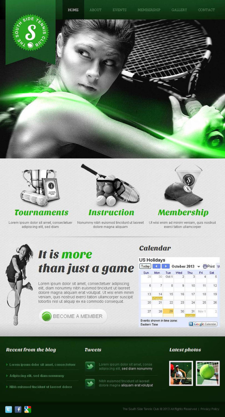 Tennis Facebook HTML CMS Template New Screenshots BIG
