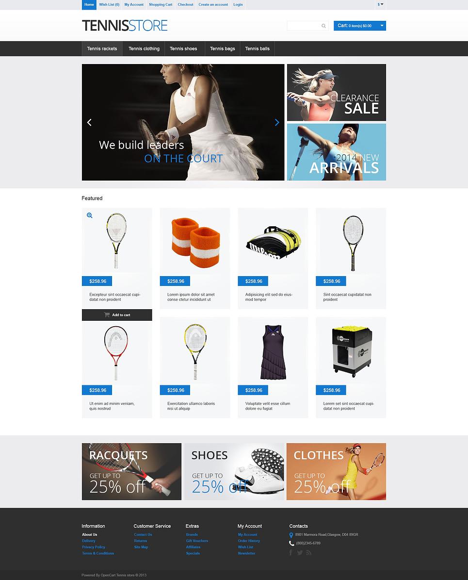 Tennis Gear OpenCart Template New Screenshots BIG