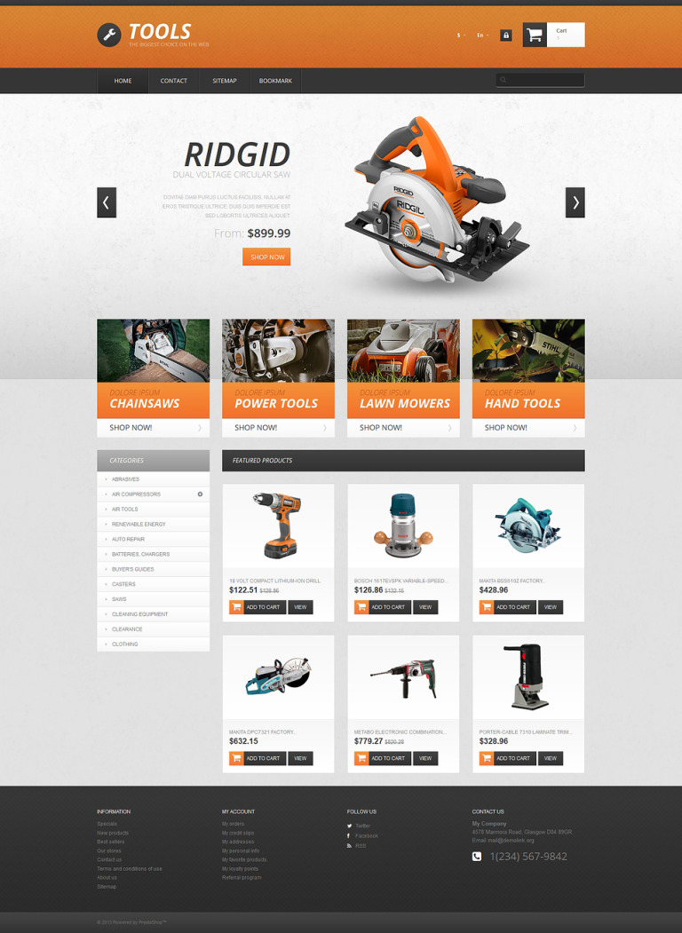 Tools PrestaShop Theme New Screenshots BIG
