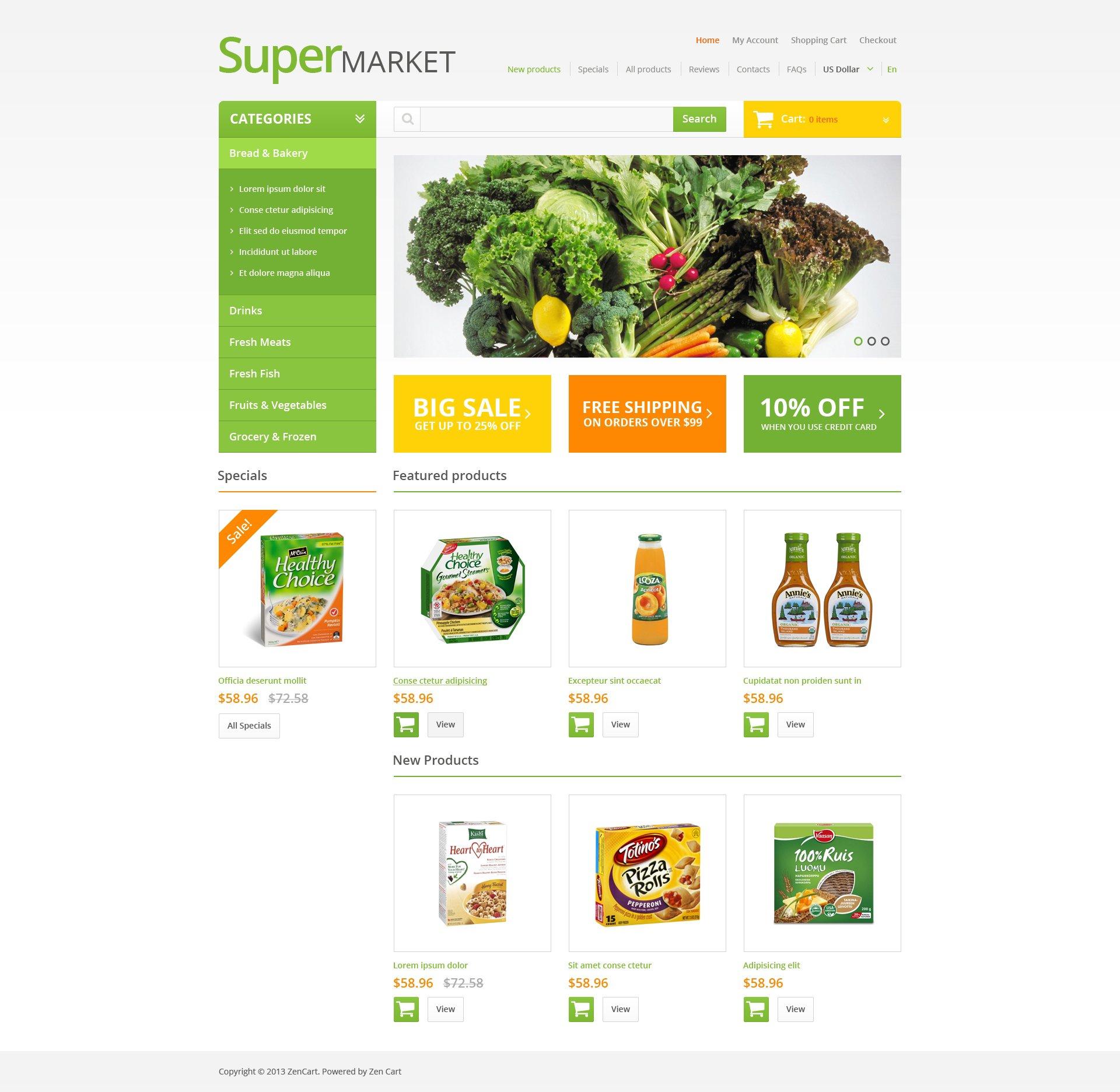 ZenCart шаблон на тему продуктовий магазин №47069